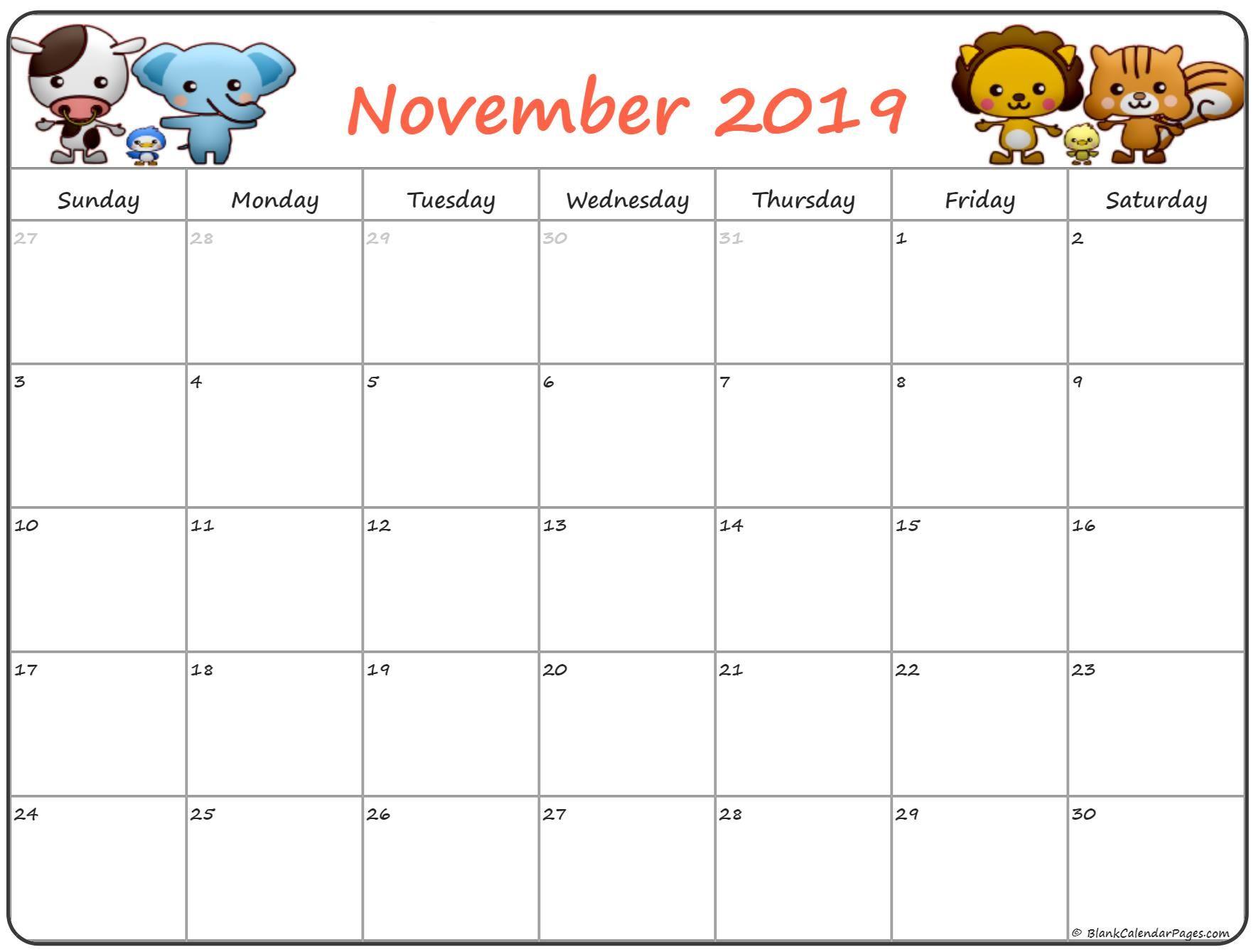 Cute November 2019 Calendar For Kids   November Calendars Regarding Blank Calendar Template For Kids