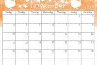 Cute November 2019 Calendar Printable Wallpaper For Kids within Blank Calendar Template For Kids