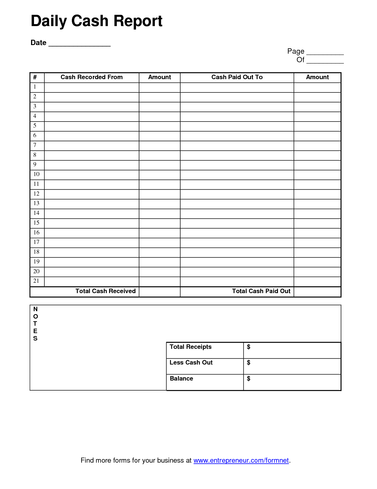 Daily Cash Sheet Template   Daily Report Template Inside Daily Report Sheet Template
