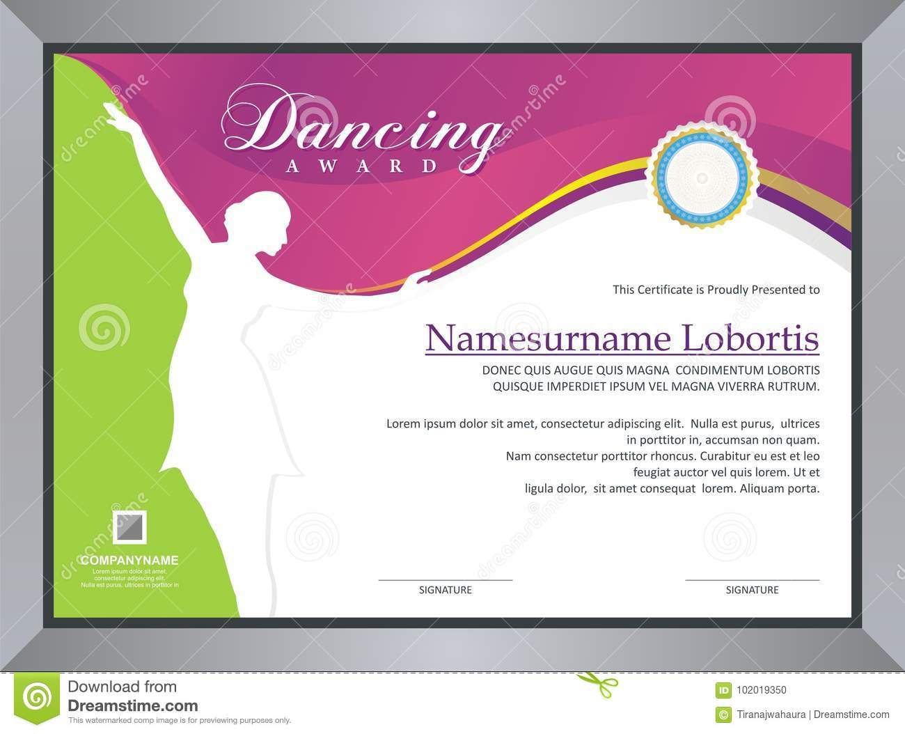 Dancing Award Stock Vector. Illustration Of Competition Intended For Dance Certificate Template
