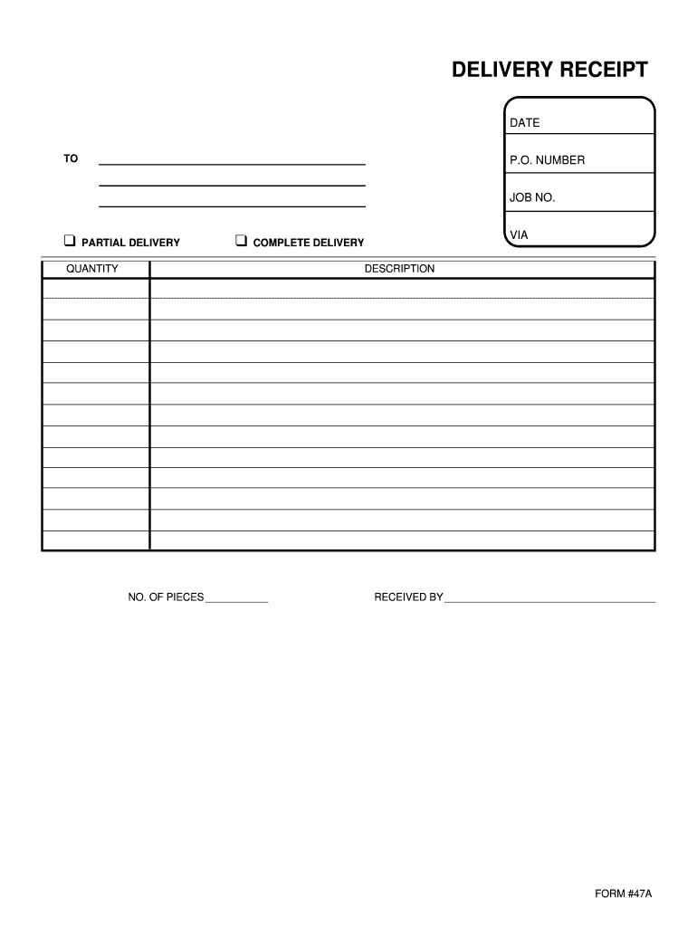 Delivery Receipt Template - Fill Online, Printable, Fillable In Proof Of Delivery Template Word