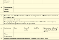 Dentity, Rabies Vaccination And Movement Certificate For with Rabies Vaccine Certificate Template