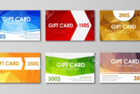 Design Of Colored Polygonal Gift Cards. Templates Of Different.. for Advertising Cards Templates
