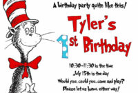 Details About Cat In The Hat Invitations, Kids Birthday pertaining to Dr Seuss Birthday Card Template