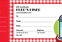 Diner Gift Certificate for Restaurant Gift Certificate Template
