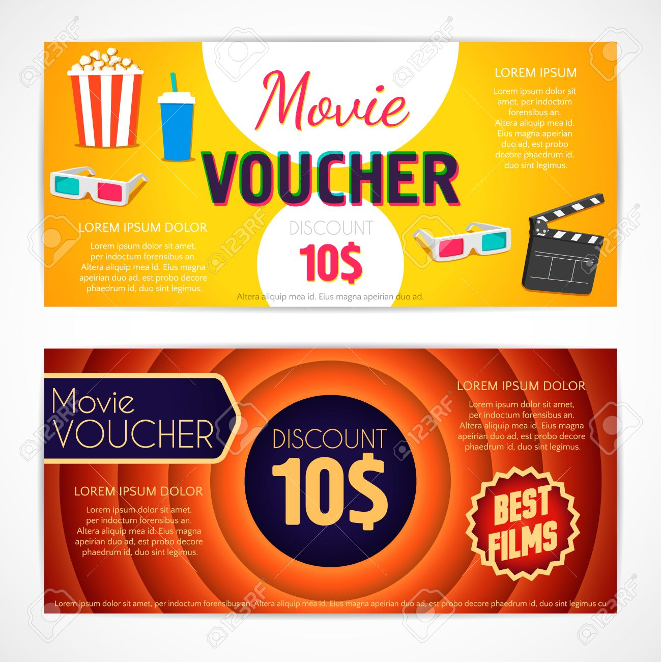 Discount Voucher Movie Template, Cinema Gift Certificate, Coupon.. Pertaining To Movie Gift Certificate Template