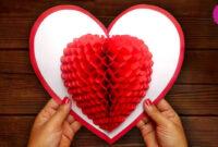 Diy 3D Heart ❤️ Pop Up Card | Valentine Pop Up Card in 3D Heart Pop Up Card Template Pdf