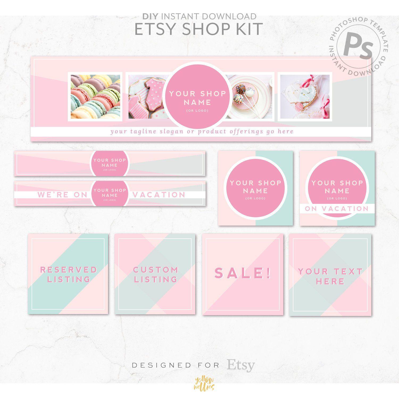 Diy Editable Etsy Shop Graphic Bundle Kit   Etsy Banner In Etsy Banner Template