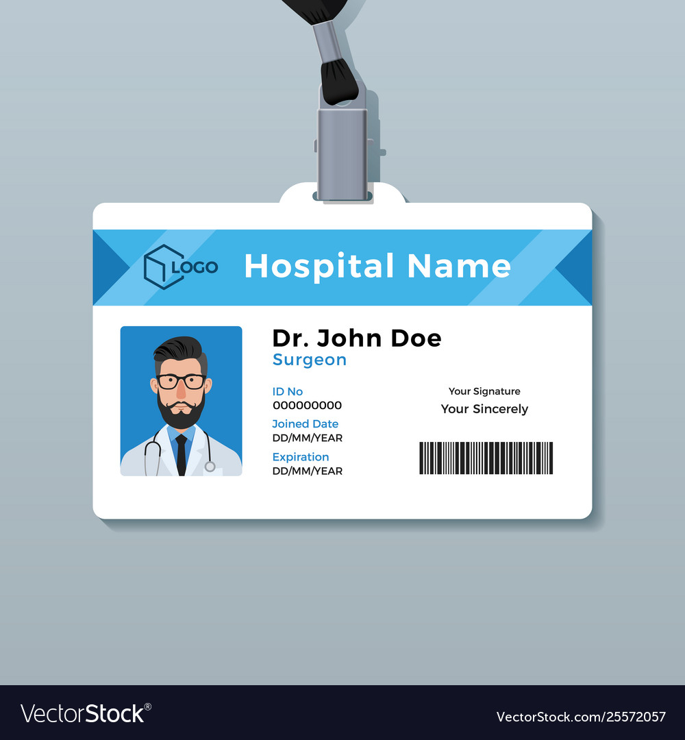 Doctor Id Card Template Medical Identity Badge With Doctor Id Card Template