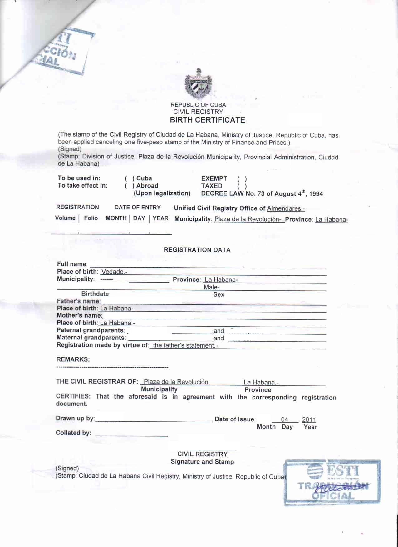 Document Translation – Cubacityhall In Marriage Certificate Translation Template