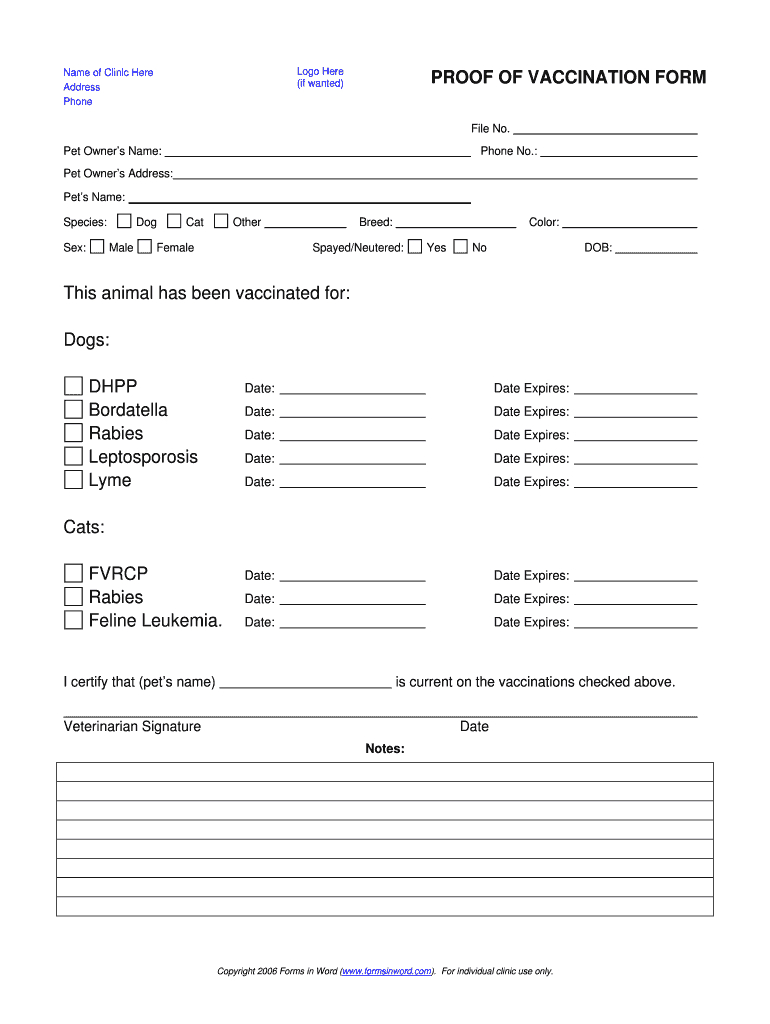 Dog Shot Record - Fill Online, Printable, Fillable, Blank Throughout Dog Vaccination Certificate Template