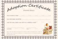 Doll Adoption Certificate Template regarding Pet Adoption Certificate Template