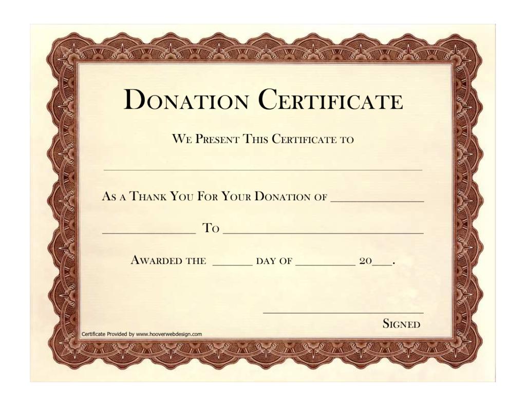 Donation Certificate Template | Certificate Templates With Regard To Donation Certificate Template