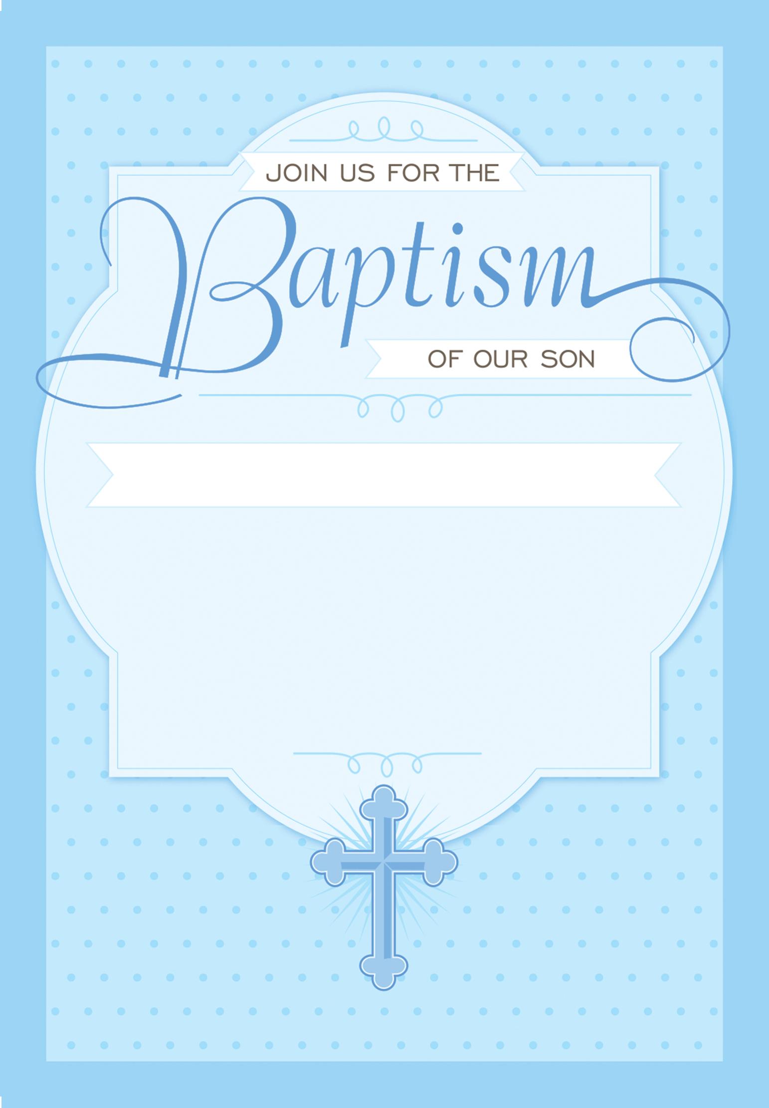 Dotted Blue - Baptism & Christening Invitation Template Intended For Blank Christening Invitation Templates