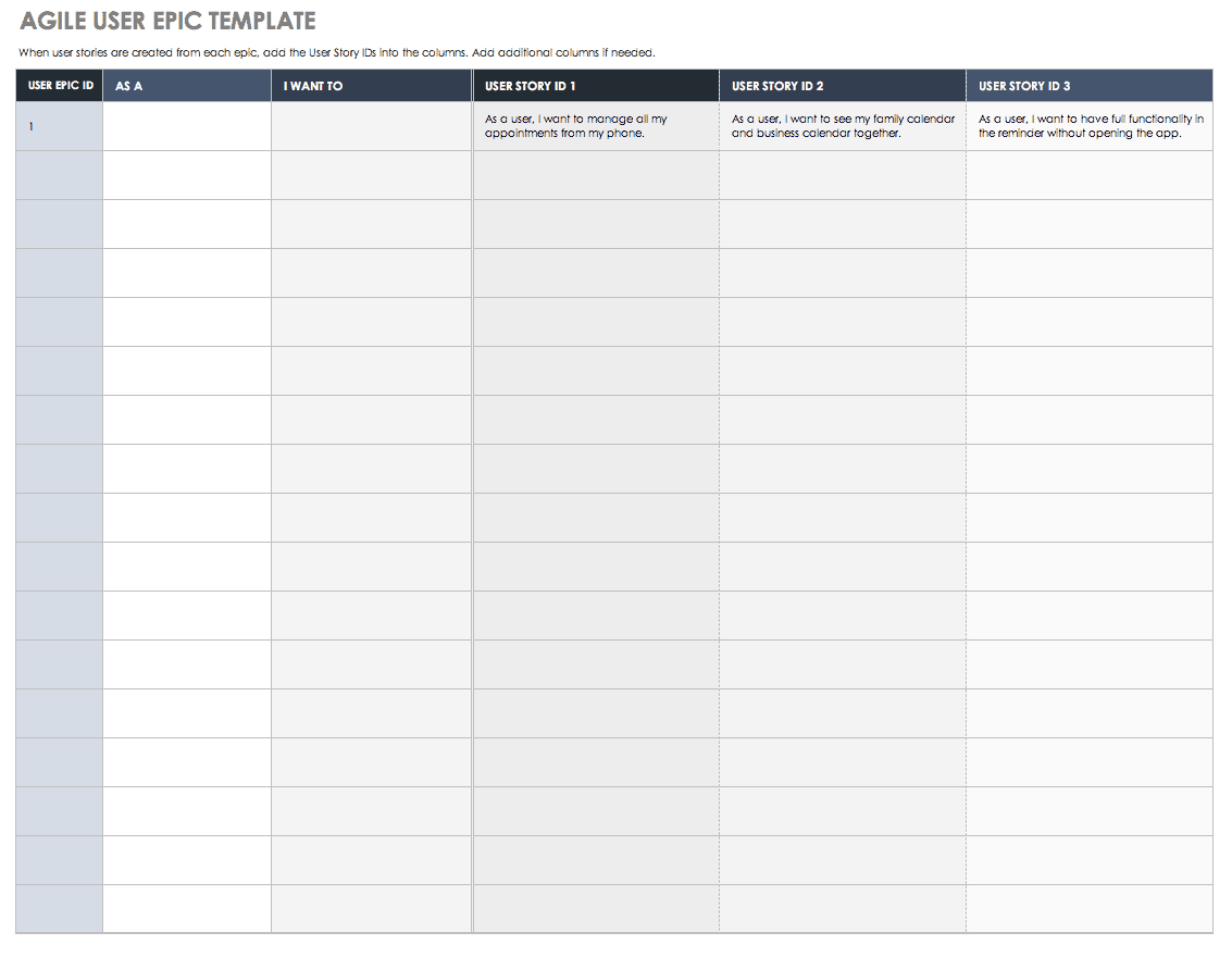 Download Free User Story Templates |Smartsheet With Regard To User Story Word Template