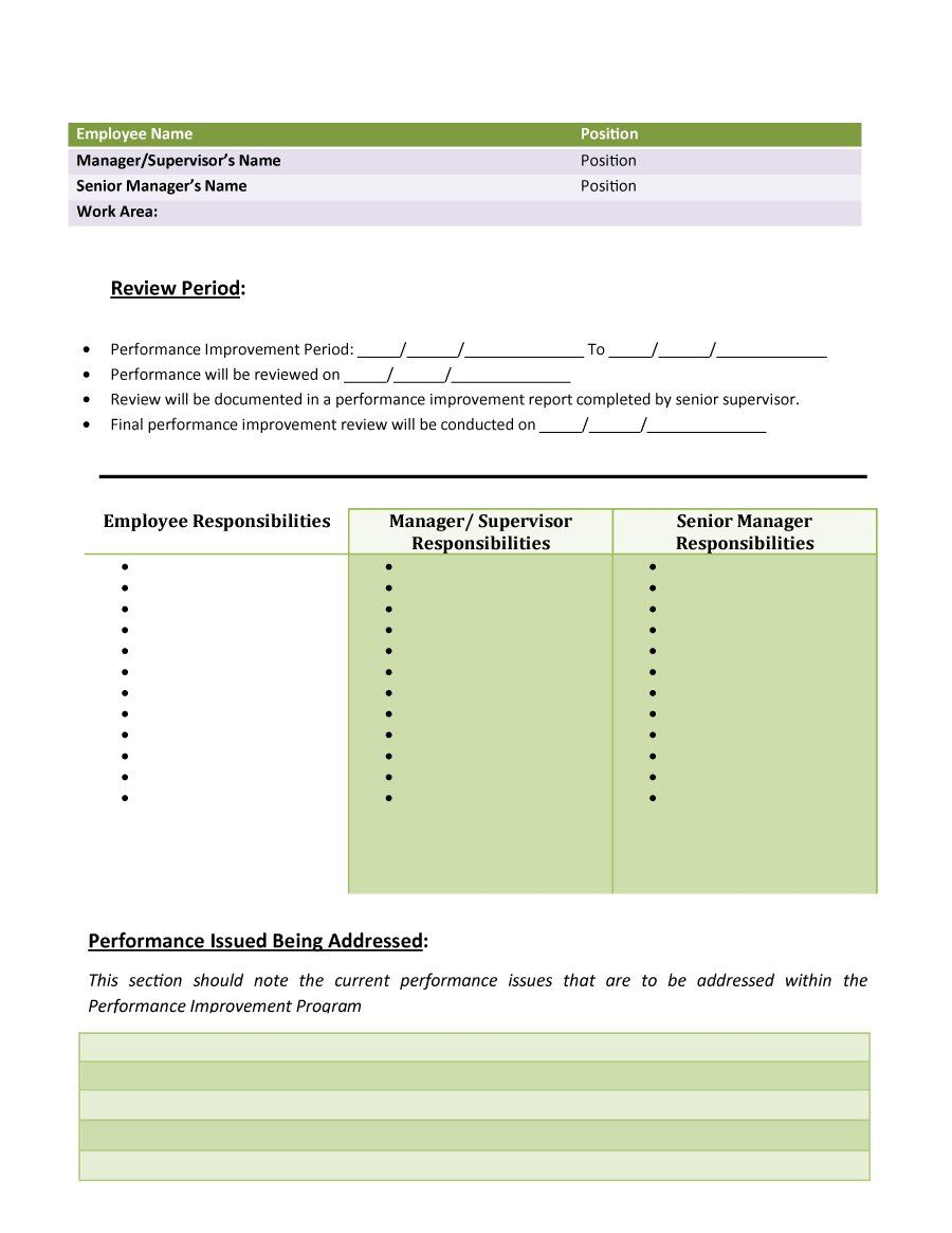 Download Performance Improvement Plan Template 41 | Personal In Improvement Report Template