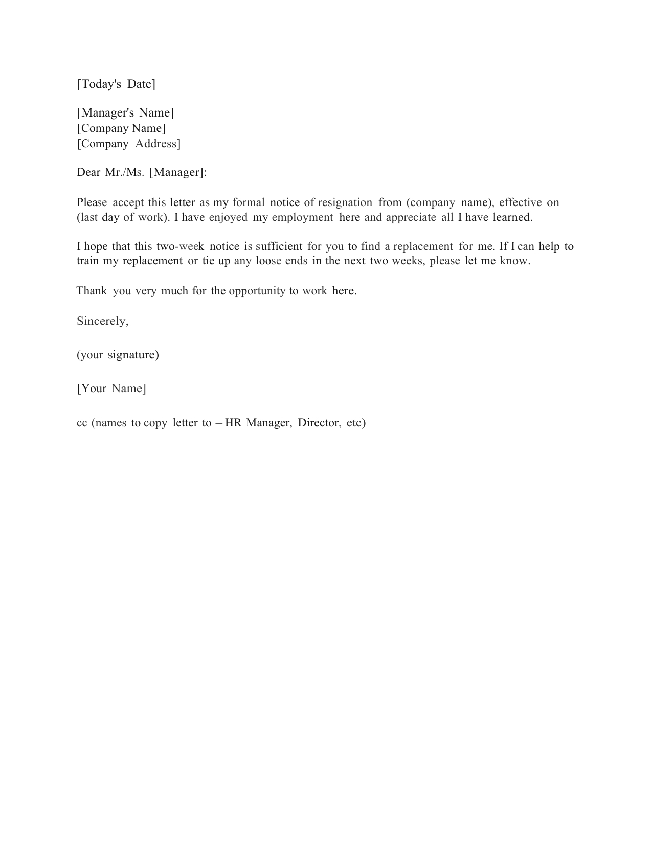Download Standard Two (2) Weeks Notice Letter Template And Throughout Two Week Notice Template Word