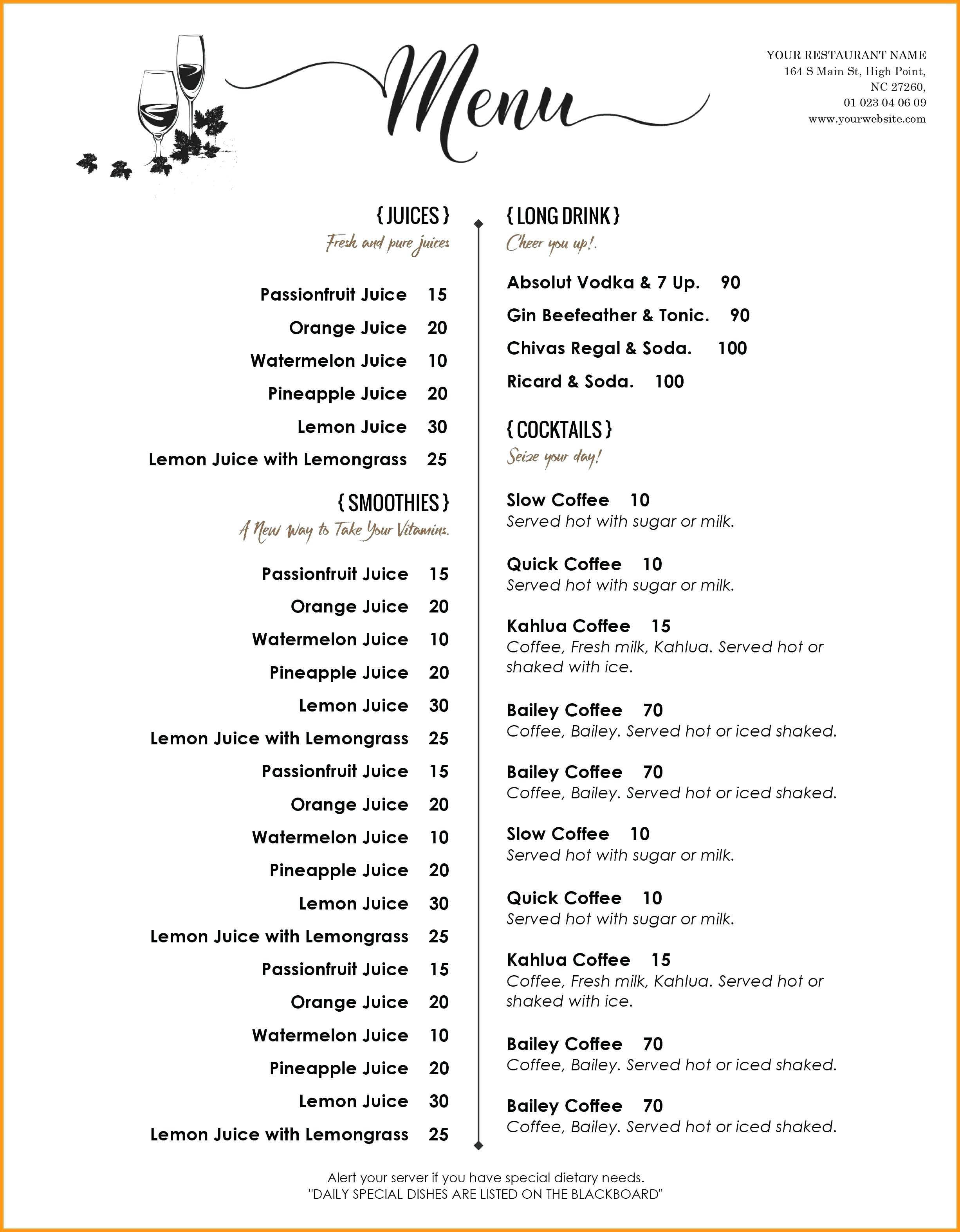 Drink Menu Template – Wepage.co Within Cocktail Menu Template Word Free