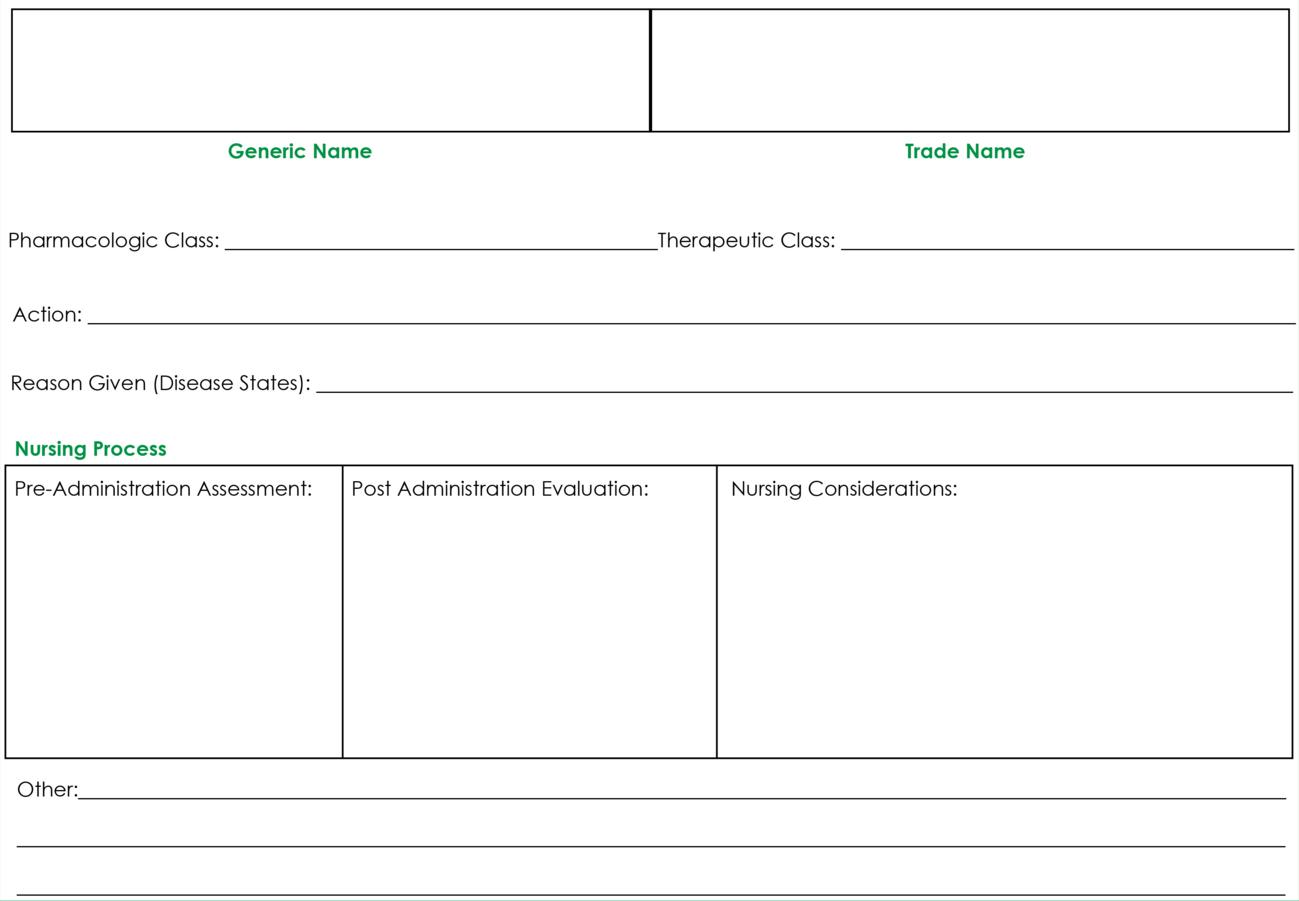 Drug Card Template   Nursing   Pharmacology Nursing, Nursing In Medication Card Template