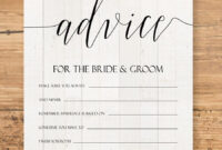 Editable Advice Cards For The Bride-To-Be, Custom Advice within Marriage Advice Cards Templates