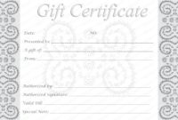 Editable And Printable Silver Swirls Gift Certificate Template Throughout Graduation Gift Certificate Template Free