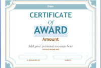 Editable Award Certificate Template In Word #1476 with Academic Award Certificate Template