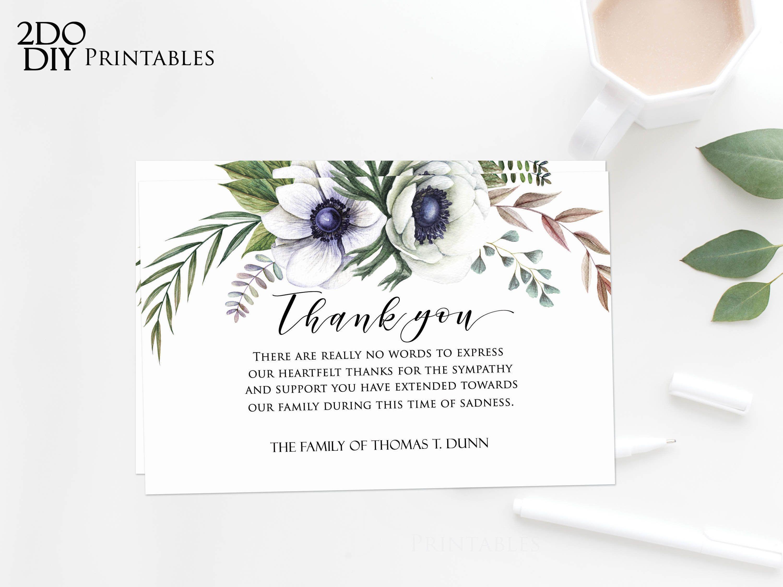 Editable Funeral Thank You Card | Memorial Editable Template Regarding Sympathy Thank You Card Template