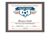 Editable Pdf Sports Team Soccer Certificate Award Template for Athletic Certificate Template
