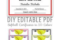 Editable Pdf Sports Team Softball Certificate Award Template within Softball Certificate Templates