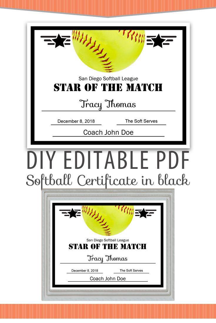 Editable Pdf Sports Team Softball Certificate Diy Award Intended For Softball Award Certificate Template