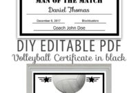 Editable Pdf Sports Team Volleyball Certificate Diy Award with Free Softball Certificate Templates