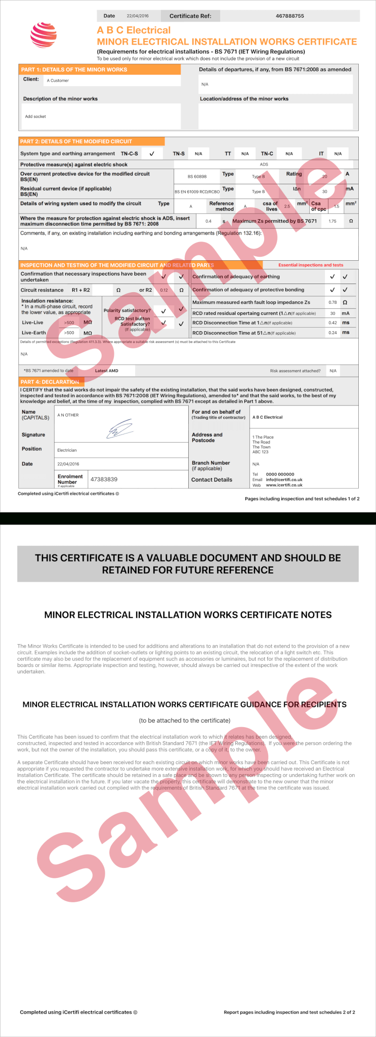 Electrical Certificate - Example Minor Works Certificate With Electrical Minor Works Certificate Template