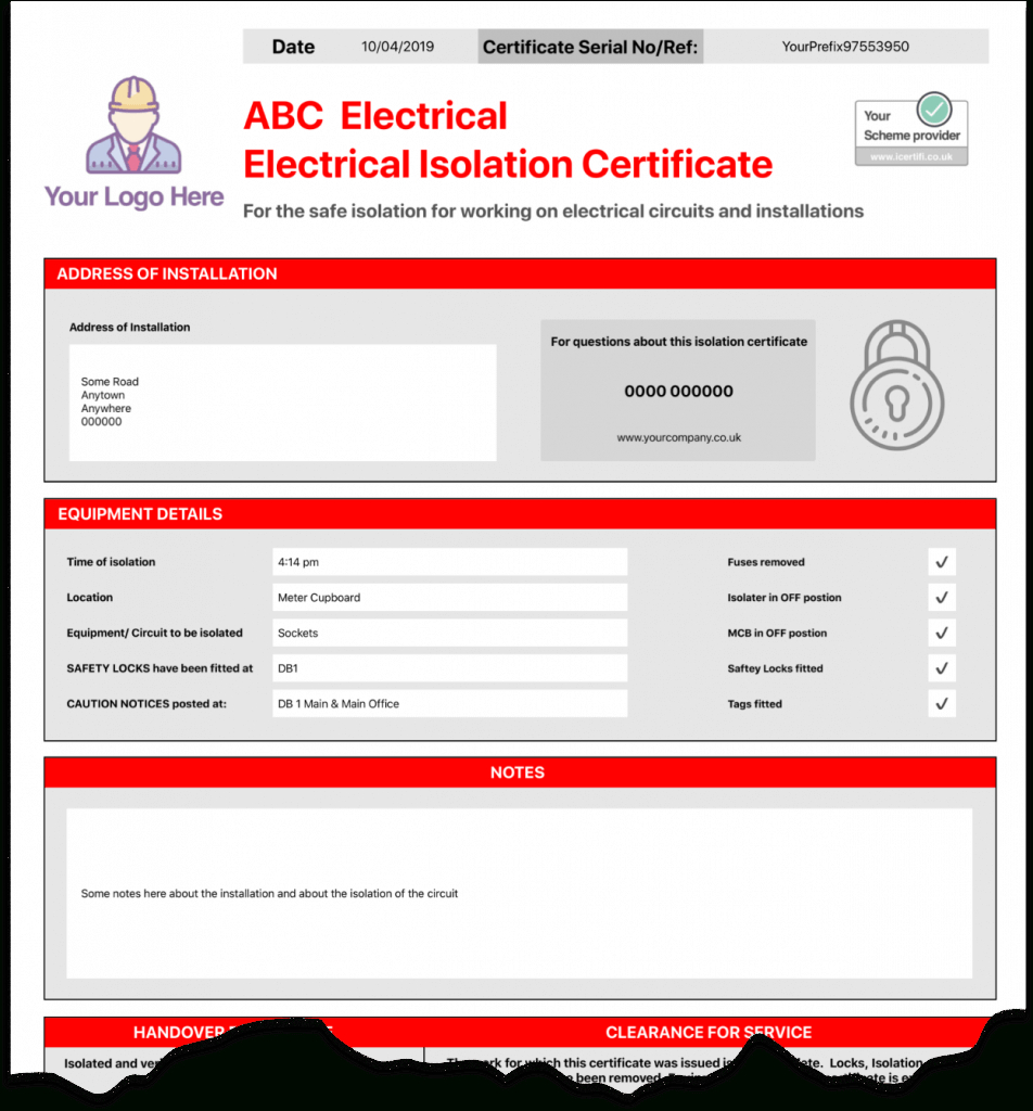 Electrical Isolation Certificate   Send Unlimited With Regard To Electrical Isolation Certificate Template