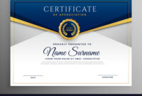 Elegant Blue And Gold Diploma Certificate Template inside Elegant Certificate Templates Free