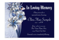 Elegant Blue Memorial Service Announcements | Zazzle with Death Anniversary Cards Templates