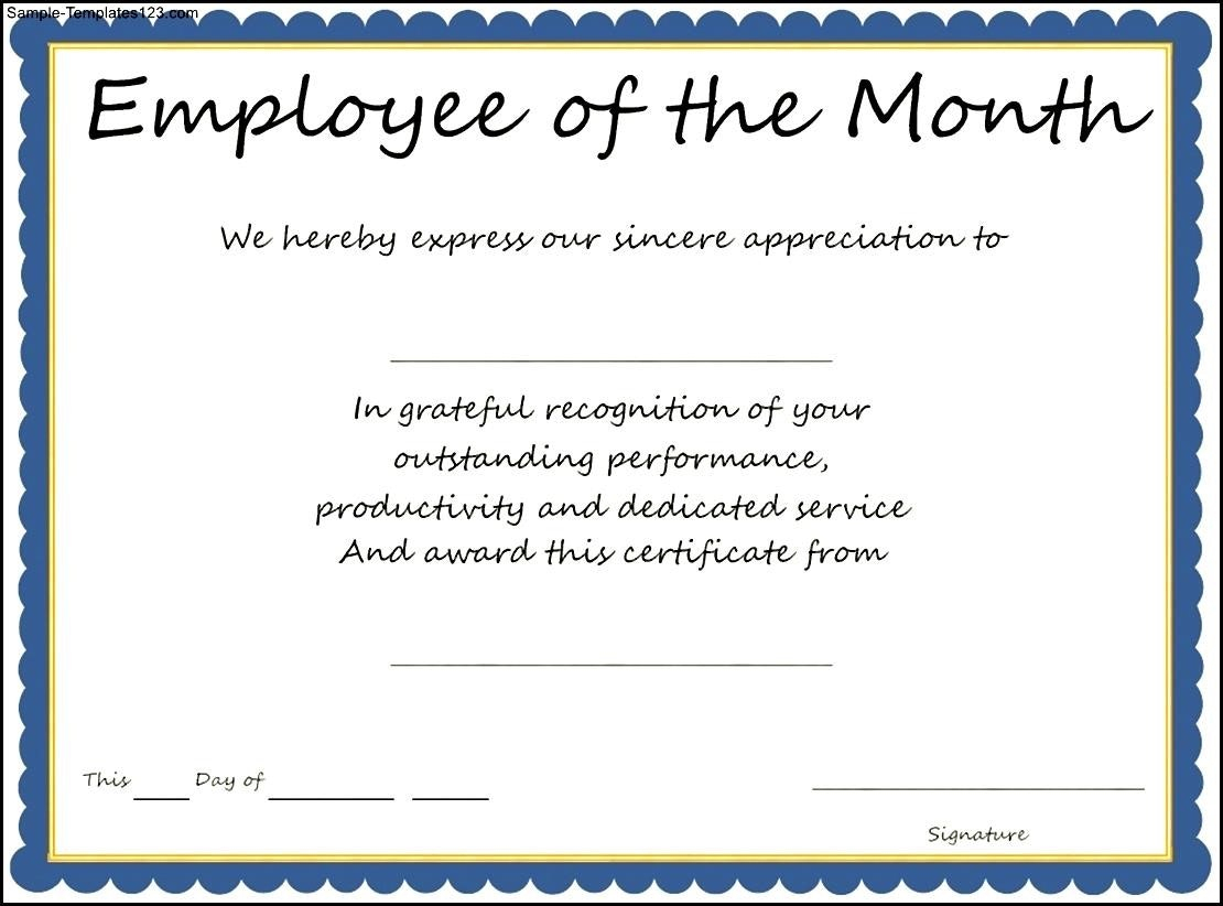 Employee Of The Month Award Wording – Corto.foreversammi With Regard To Employee Of The Month Certificate Template With Picture