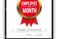 Employee Of The Month Certificate Template Stock Vector in Best Employee Award Certificate Templates