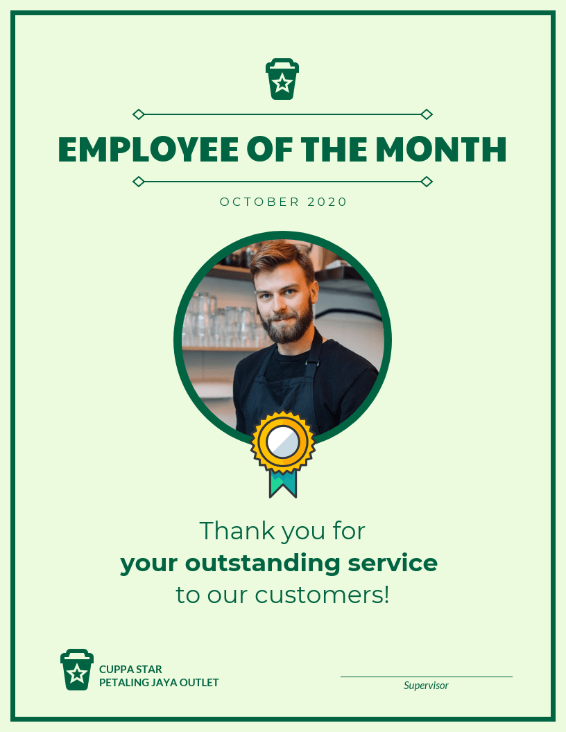 Employee Of The Month Certificate Template Template Regarding Employee Of The Month Certificate Template