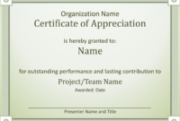 Employee Recognition Award Certificate Template Of with regard to Best Performance Certificate Template