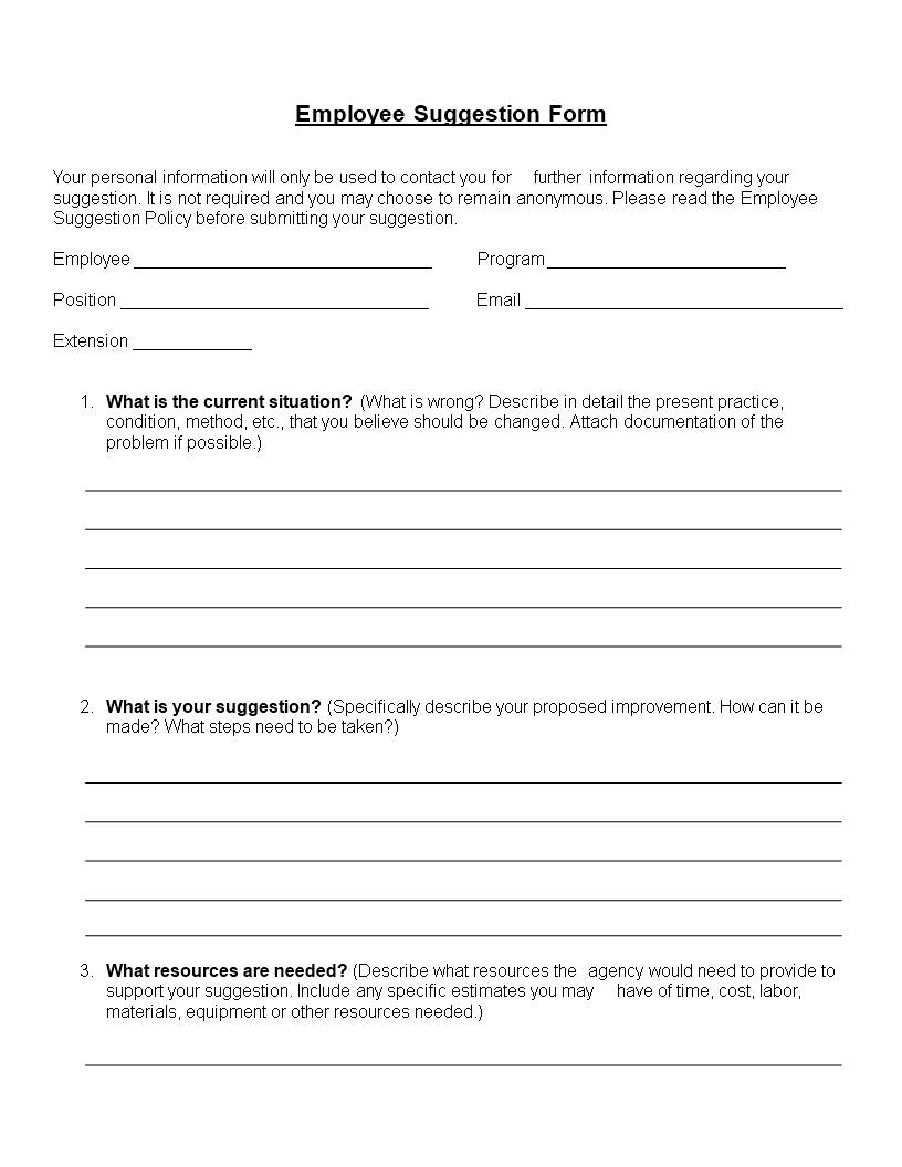 Employee Suggestion Form Word Format | Templates At Pertaining To Word Employee Suggestion Form Template