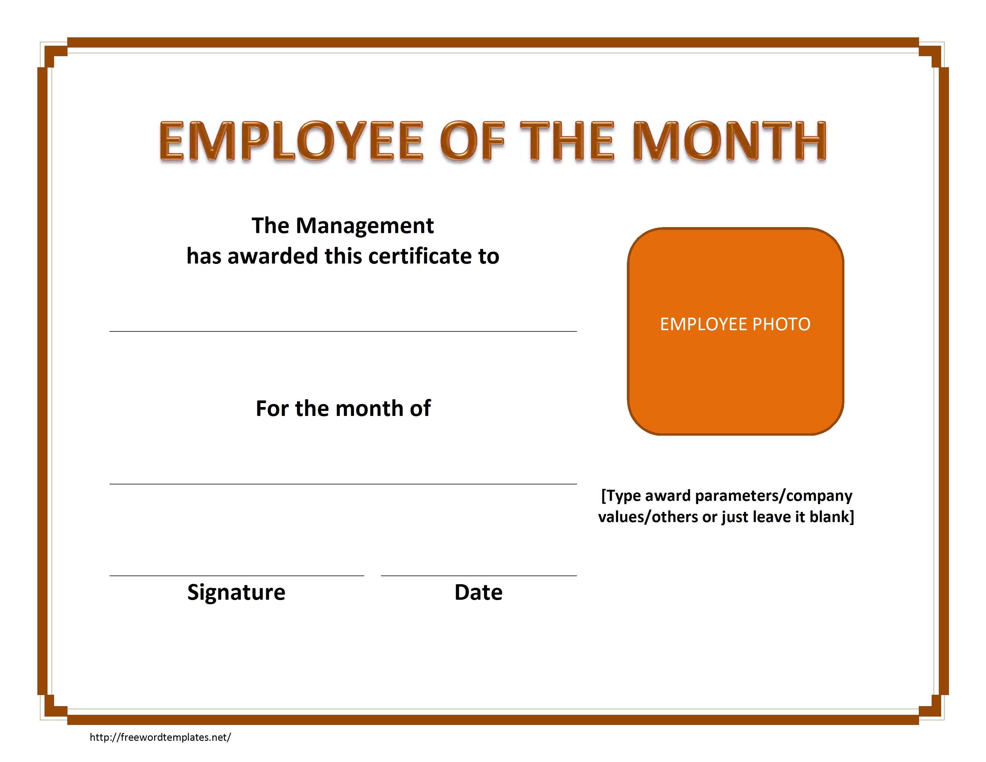 Employee The Month Certificate Template Free Microsoft Word For Employee Of The Month Certificate Template With Picture