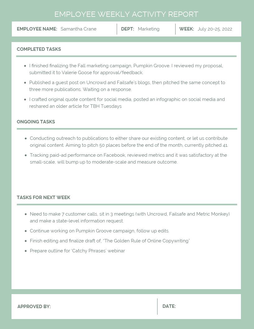 Employee Weekly Activity Report Template - Venngage Inside Weekly Activity Report Template