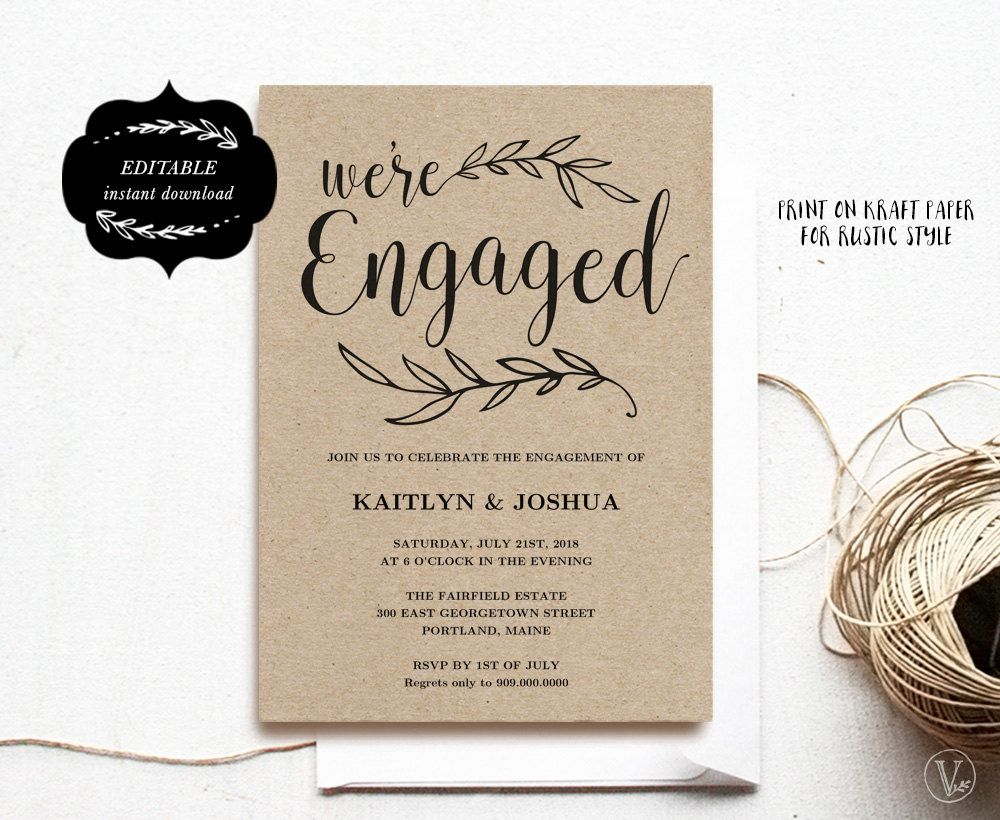 Engagement Invitation Template, Printable Engagement Party Within Engagement Invitation Card Template