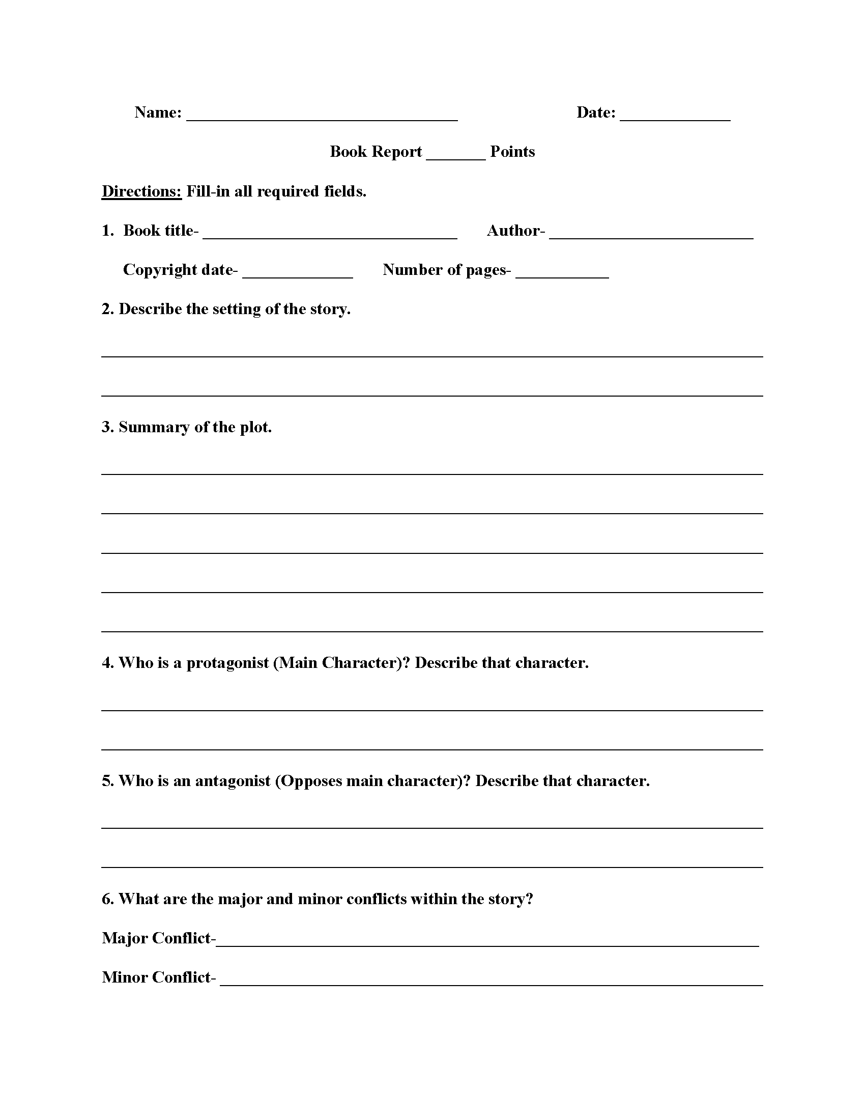 Englishlinx | Book Report Worksheets In 6Th Grade Book Report Template