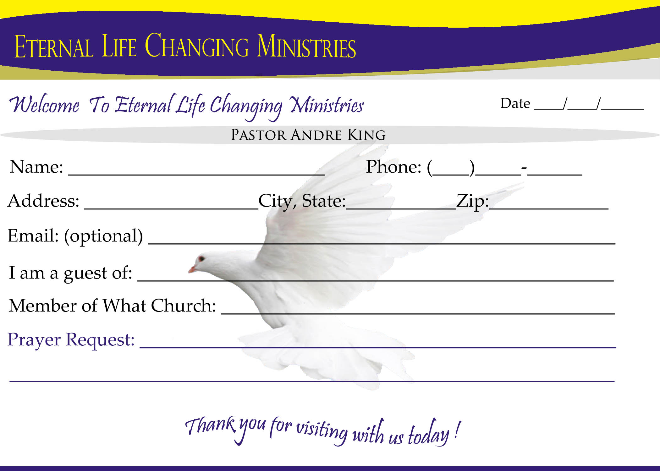 Eternal Life Visitor Card B | Creative Kingdom Designs Throughout Church Visitor Card Template Word