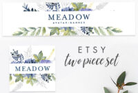 Etsy Banner & Avatar Template Instant Download Templett, Editable, Branding  Set Premade Etsy Set Etsy Shop Branding, Banner, Blue, Meadow inside Etsy Banner Template