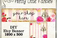 Etsy Shop Banner Diy Banner Template Premade Etsy Store Large Banner And  Icon Gold Glitter Digital Roses Chandelier throughout Etsy Banner Template