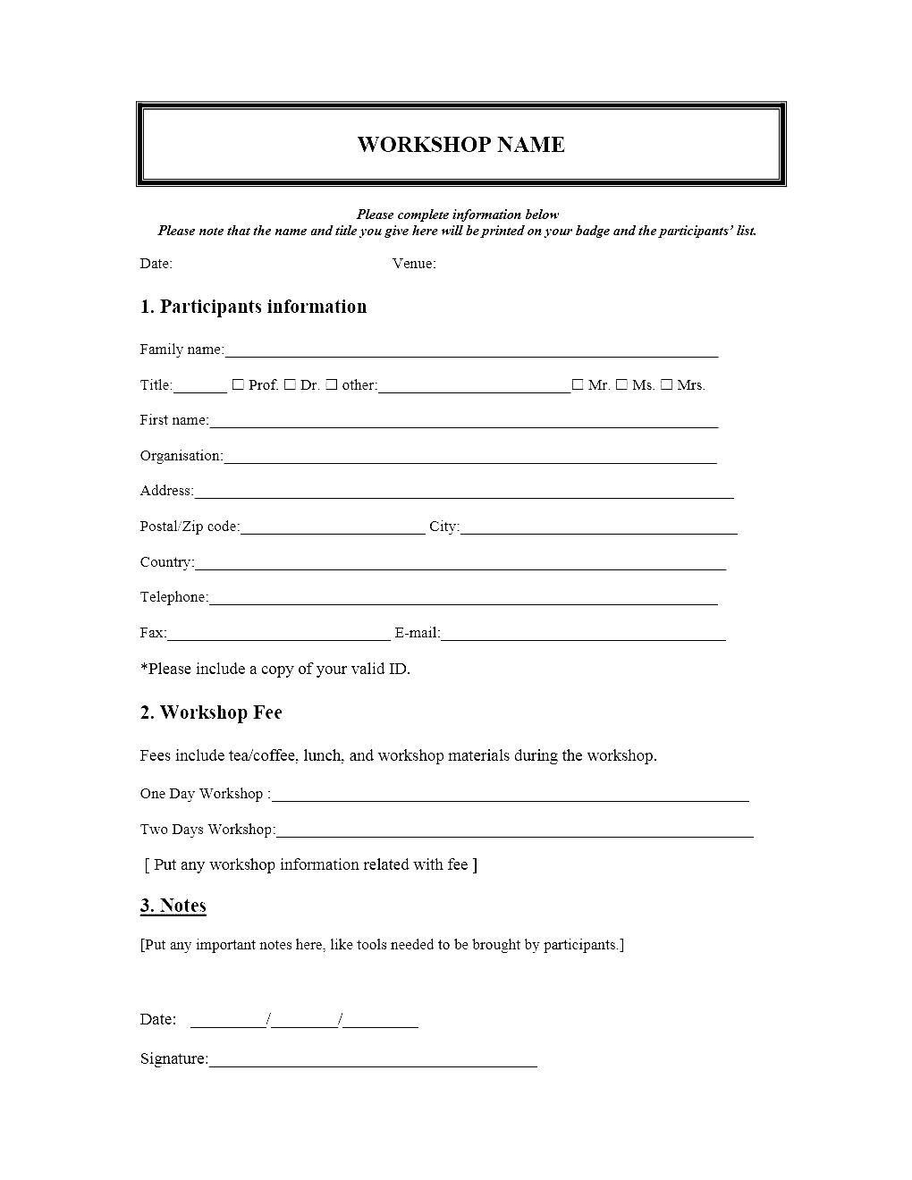Event Registration Form Template Microsoft Word Within Seminar Registration Form Template Word
