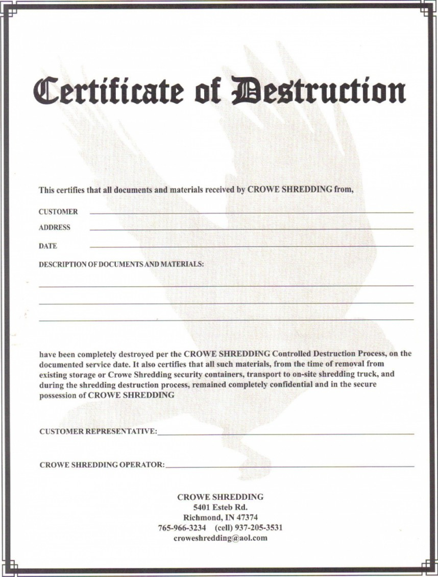 Exceptional Certificate Of Destruction Template Ideas Data For Free Certificate Of Destruction Template