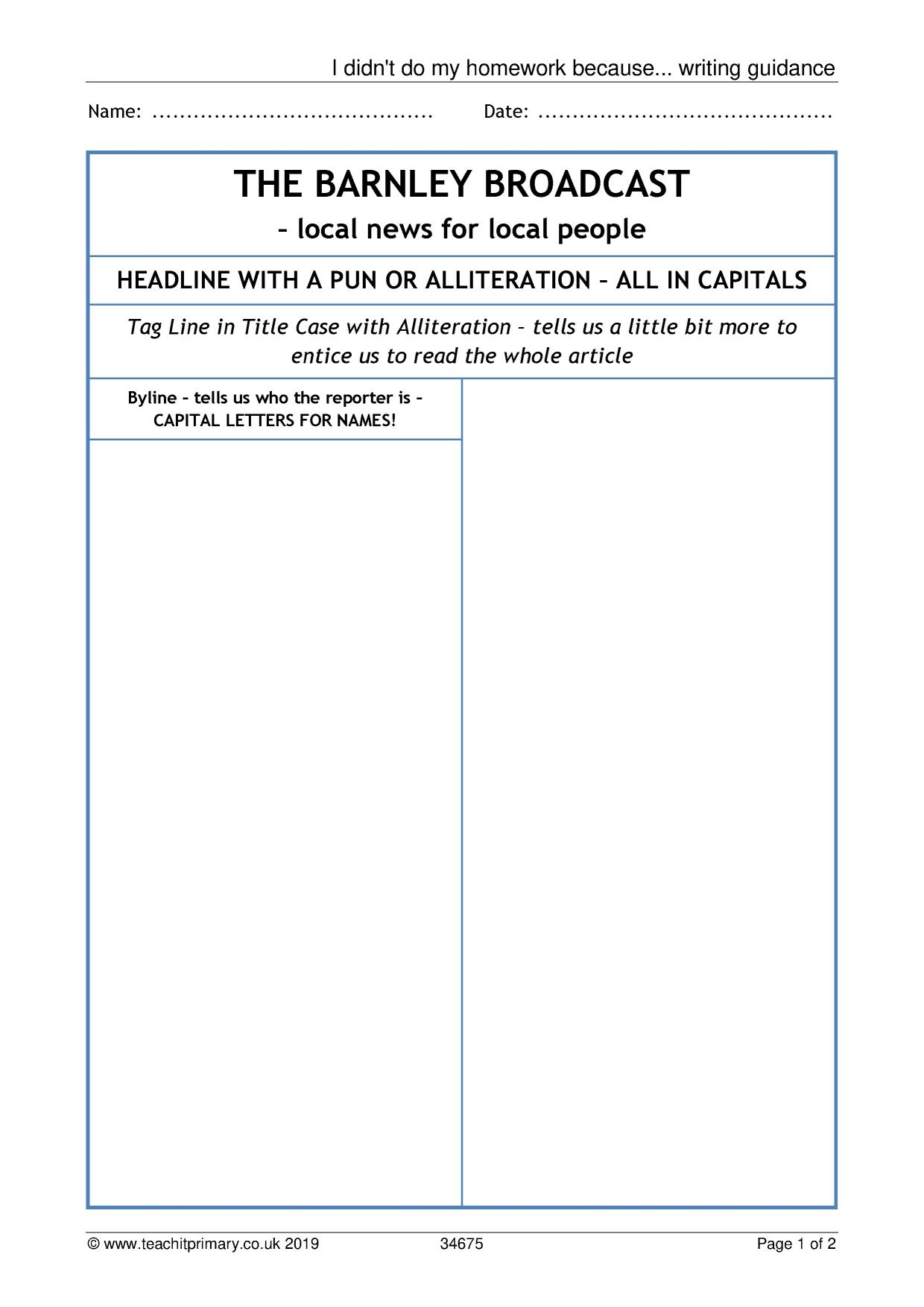 Eyfs | Ks1 | Ks2 | Newspapers | Teachit Primary Intended For Report Writing Template Ks1